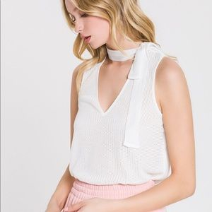 Nordstrom Endless Rose White Tie neck top